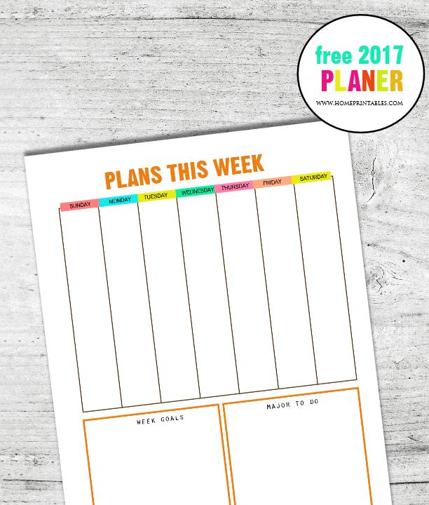 free 2017 planner