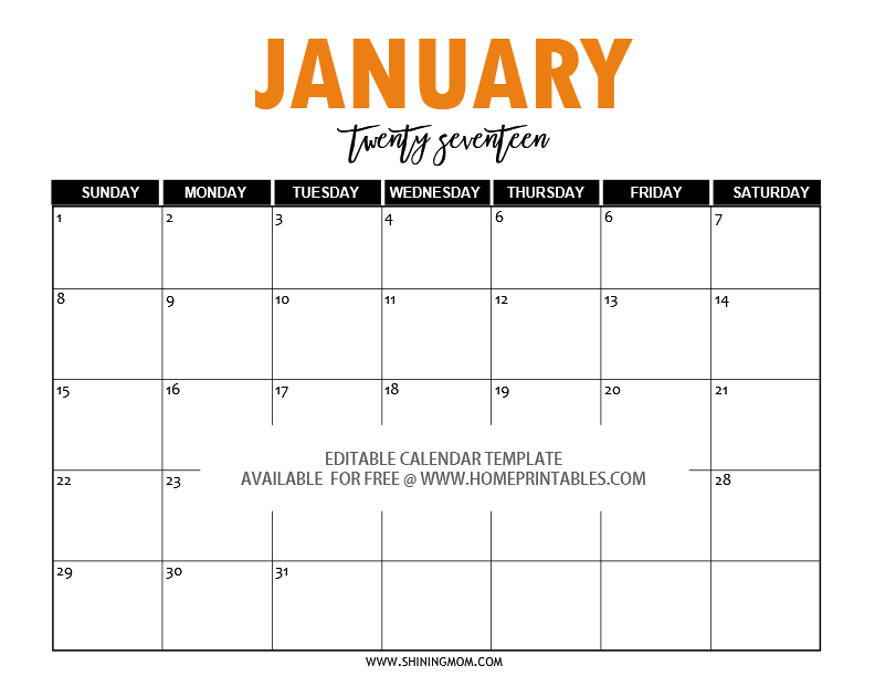 free editable 2017 calendar in word