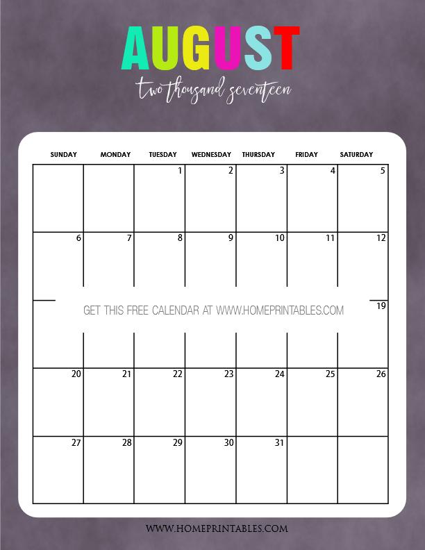2017 calendar printable