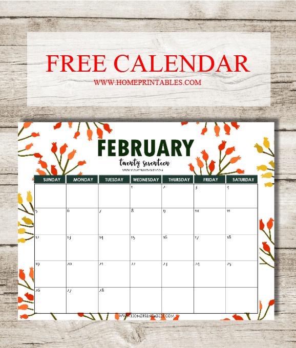 Home Design Editorial Calendar 2016: Free February 2017 Calendar Printable: Lovely Designs