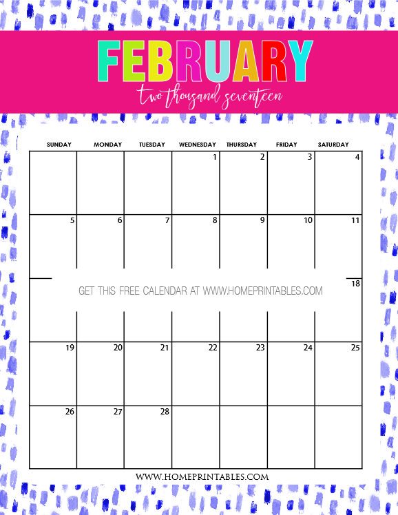 Calendar 2017 February : Free february calendar printable lovely designs