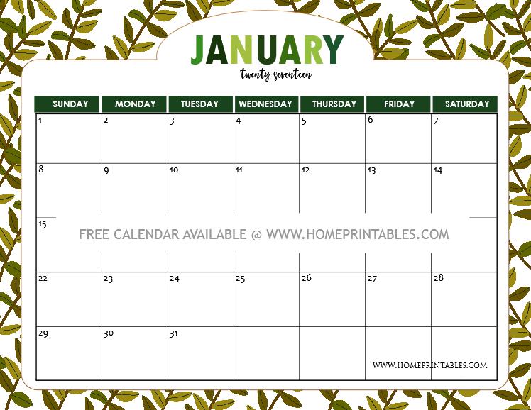 January Calendar Design : Free january calendar printable all new designs