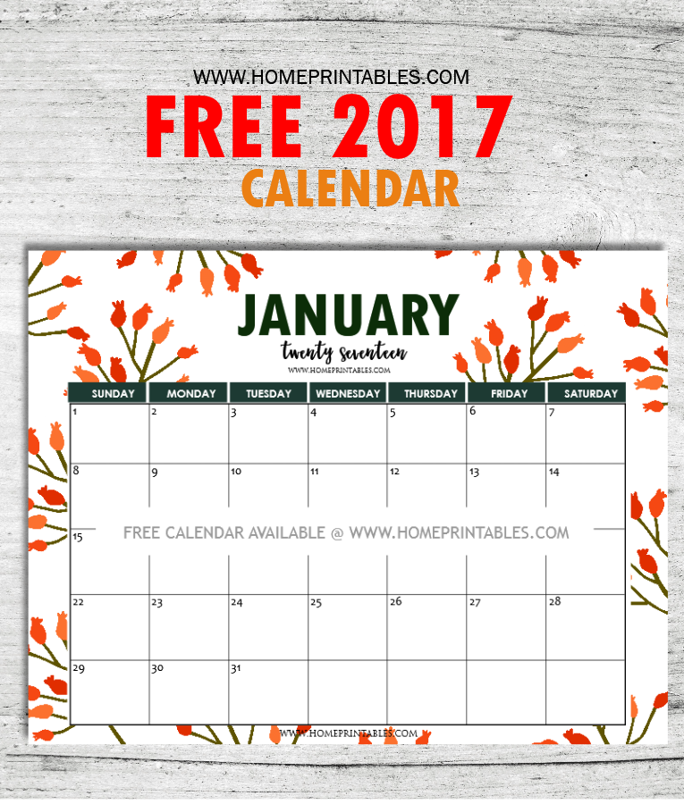 FREE January 2017 Calendar Printable: All New Designs! - Home ...