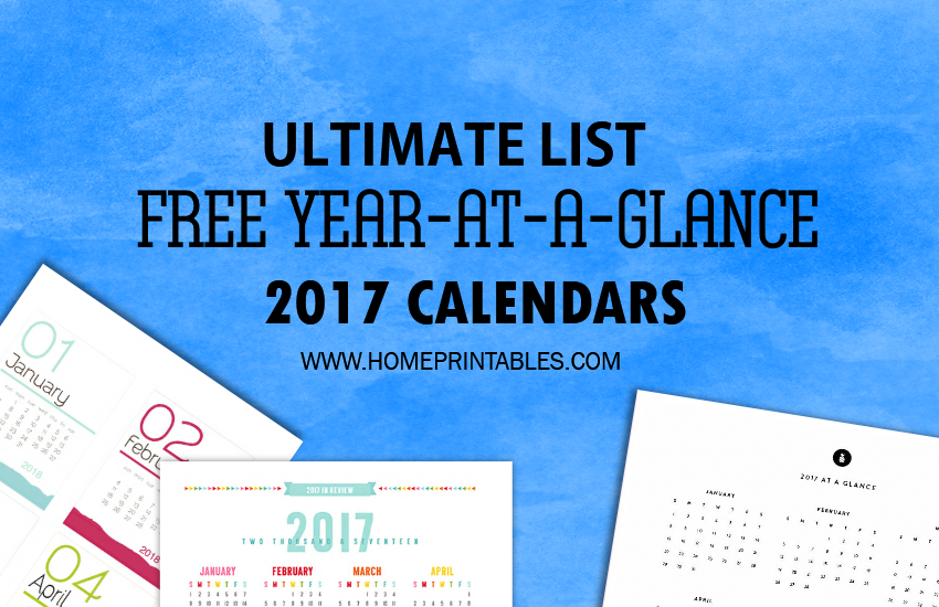 Best FREE 2017 Year at a Glance Calendars!