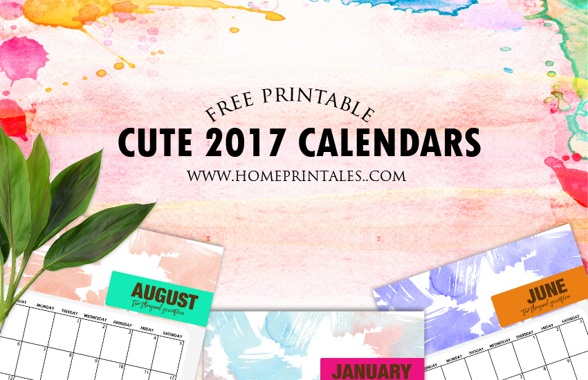 Cute 2017 Calendar Printable: Watercolor Background!