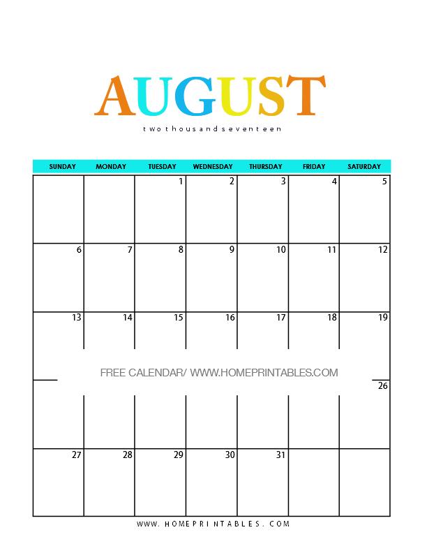 cute free printable August calendar 2017