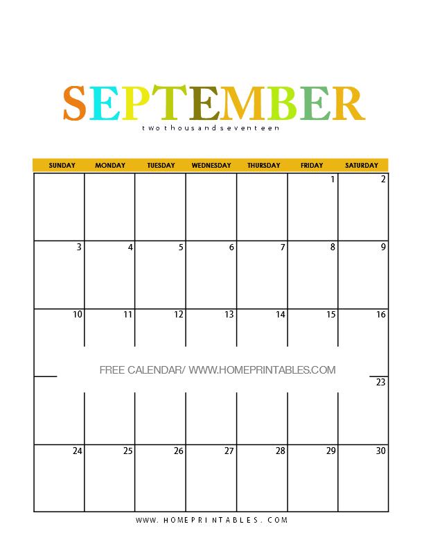 Calendar September 2017: 8 Free Pretty Printables! - Home ...