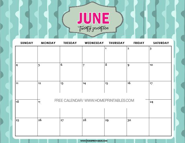 cute June 2017 calendar printable