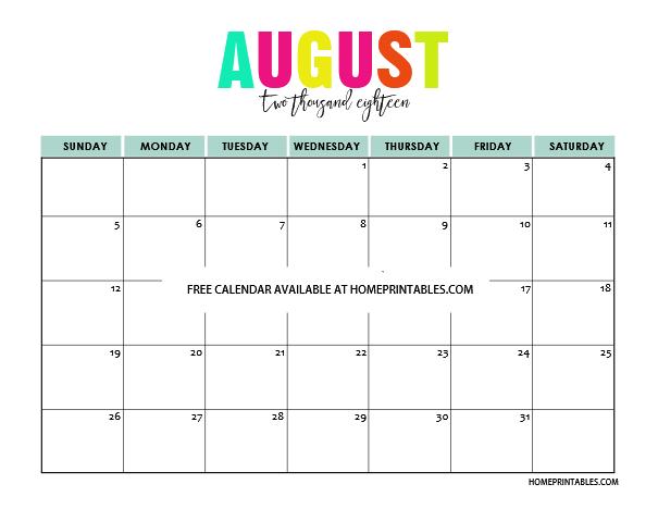 Printable Calendar 2018 in Full Colors: Free to Print!