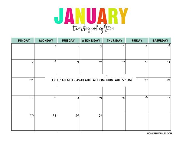 January 2018 Calendar Kids : Printable calendar in full colors free to print