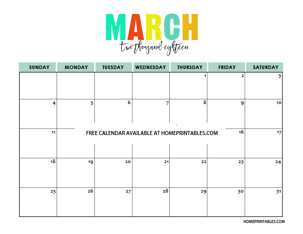 Calendar March April 2018 : Printable calendar in full colors free to print