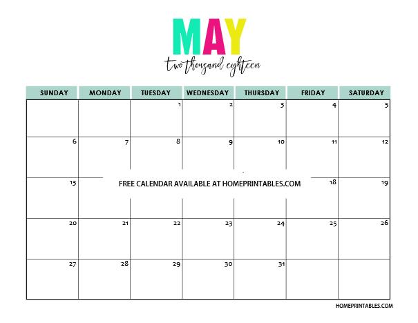 Free Printable Calendar 2018 Pretty