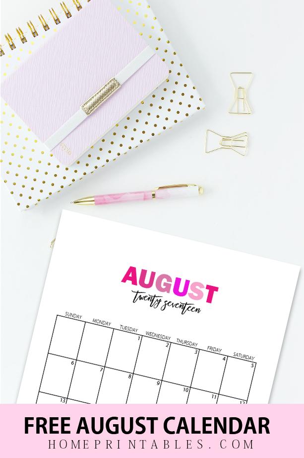 August 2017 calendar printable