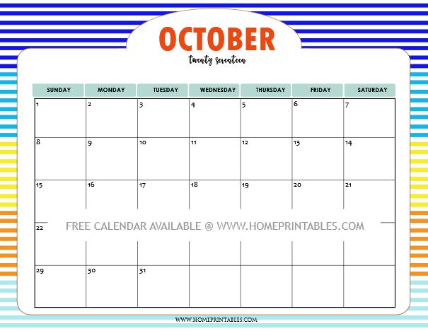 printable October calendar 2017