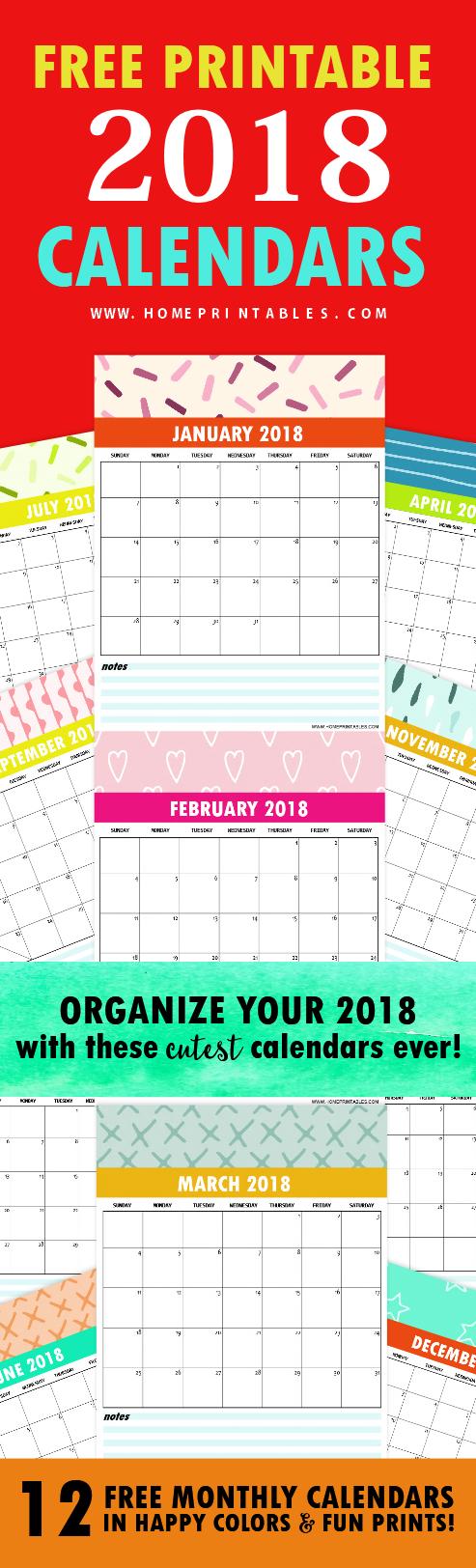 Free Calendar 2018: Fun Colors in Really Cute Prints ...