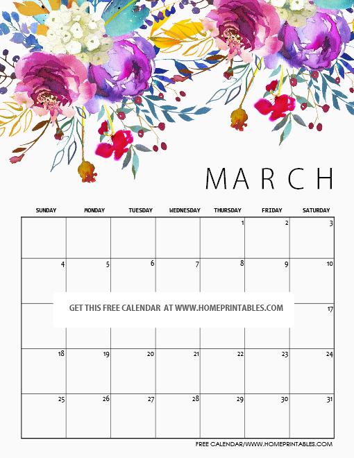 Free printable March 2018 calendar!