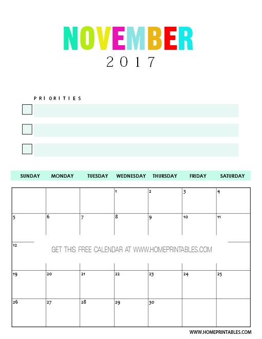 Free November 2017 calendar printable