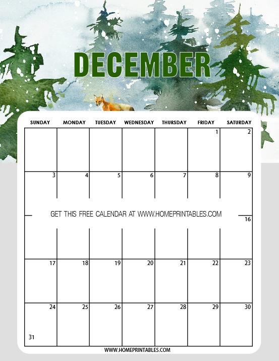 free calendar December 2017