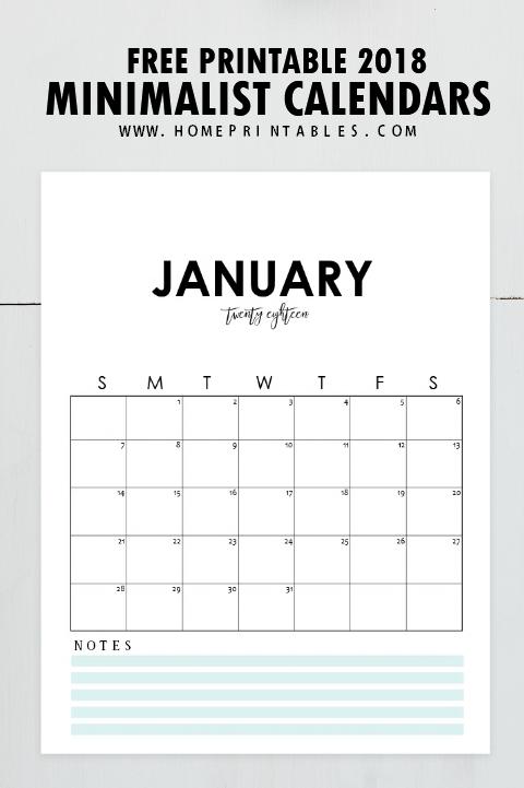 free 2018 calendar