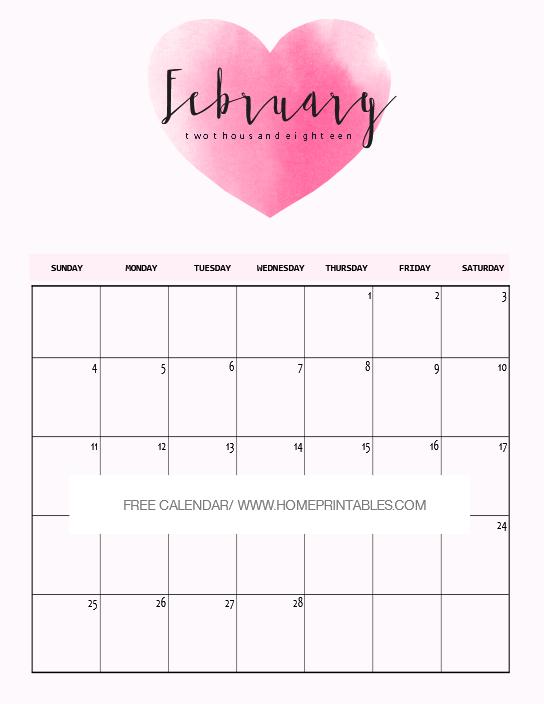 February 2018 calendar Valentine