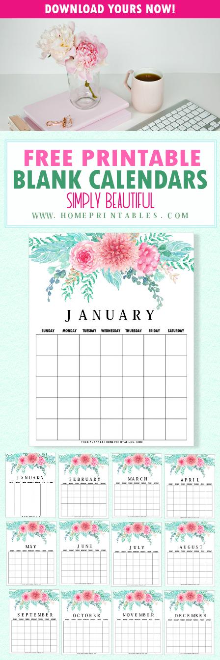 Printable blank calendar in florals