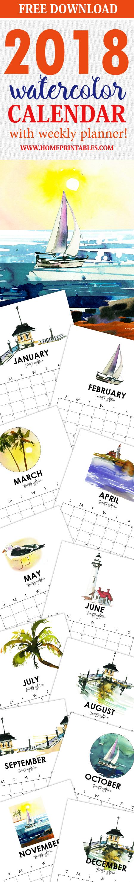 free 2018 calendar planner