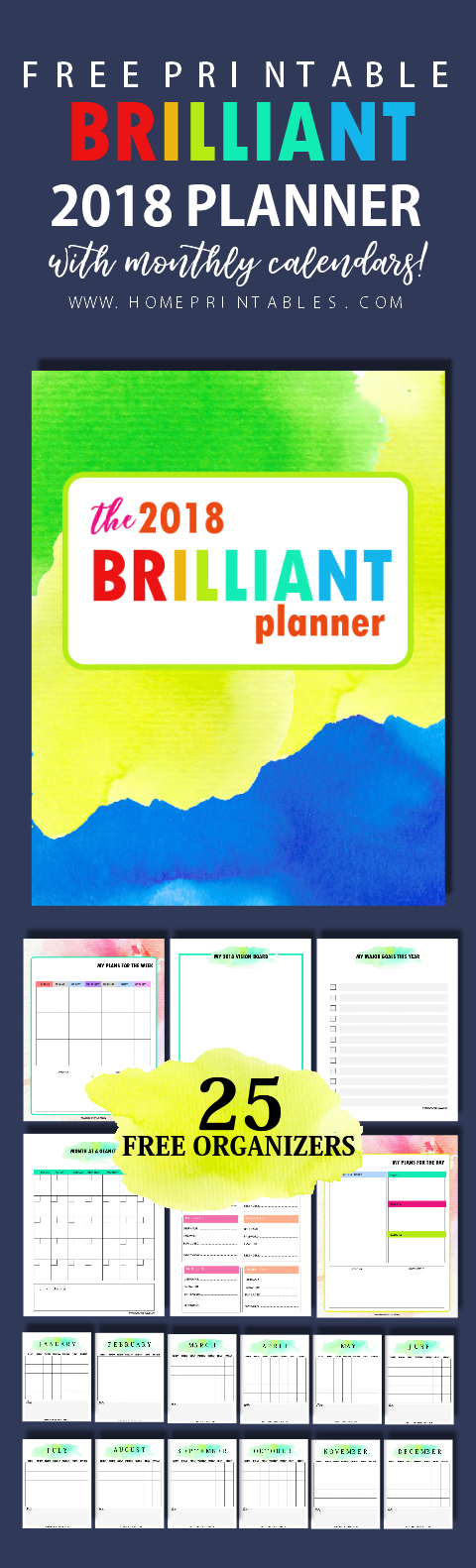 Free monthly planner 2018