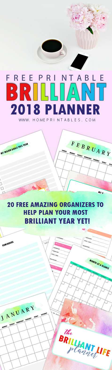 free monthly planner 2018 printables
