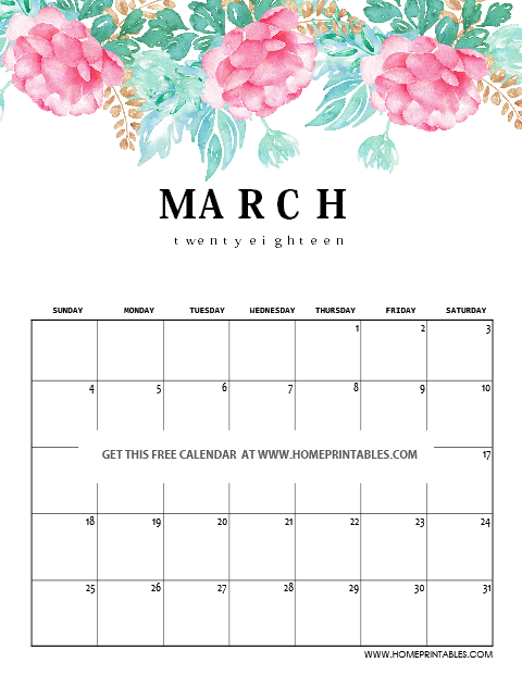 March 2018 calendar in florals