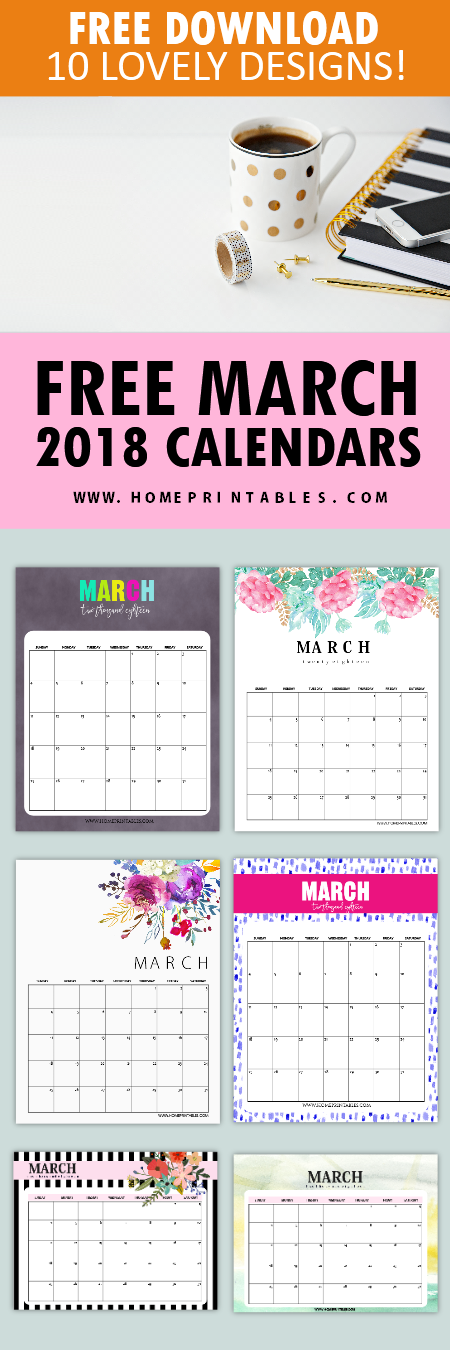 March 2018 calendar printables free