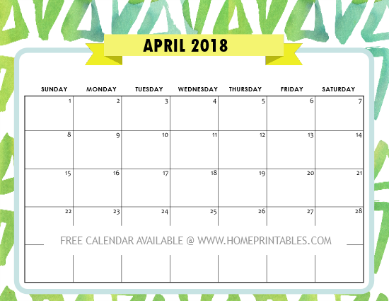 free printable April 2018 calendar
