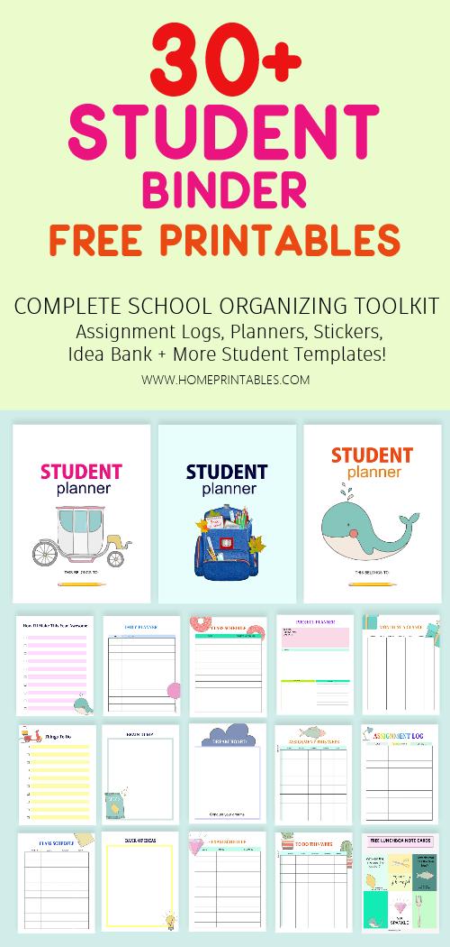 student binder free printable