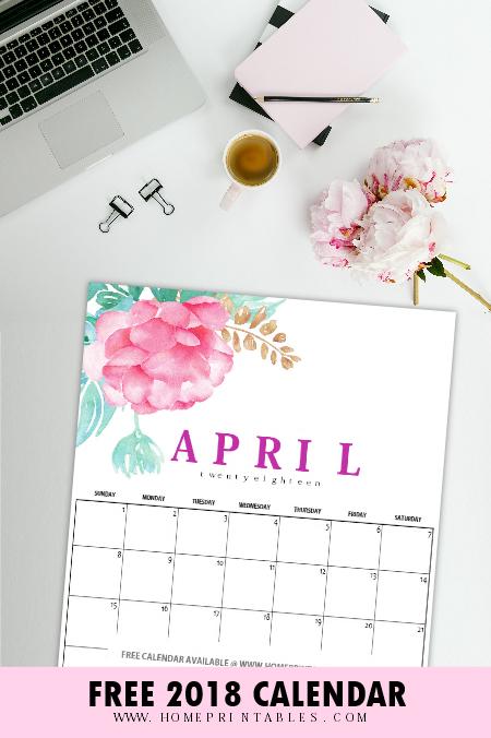 free April 2018 calendar