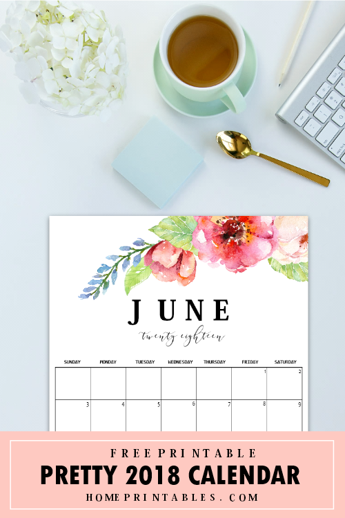 Floral June 2018 calendar