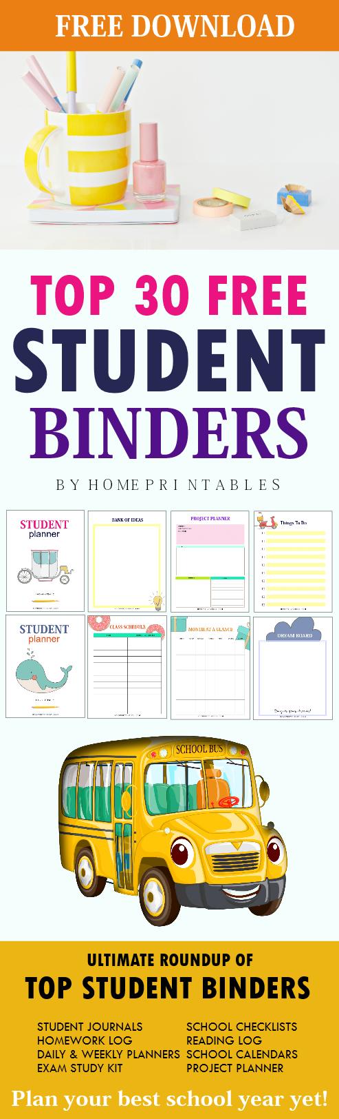 free student binder printables