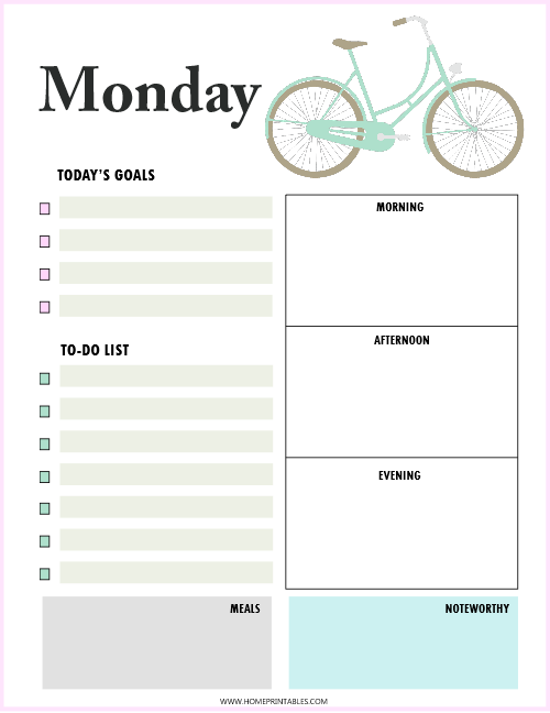 free printable daily planner Monday