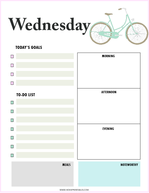daily planner Wednesday