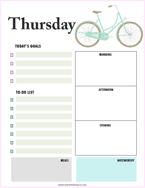 daily planner Thursday