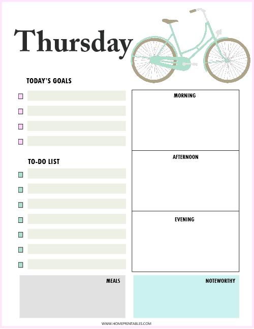 daily planner Thursday