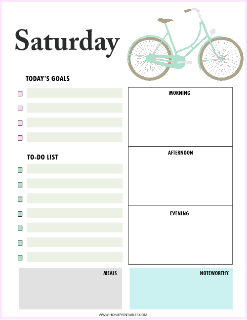 daily planner Saturday