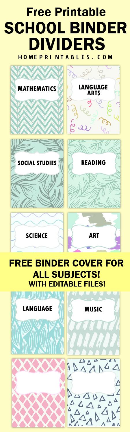 school binder divider printables