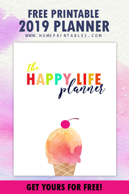 2019 Happy Life Planner free printable