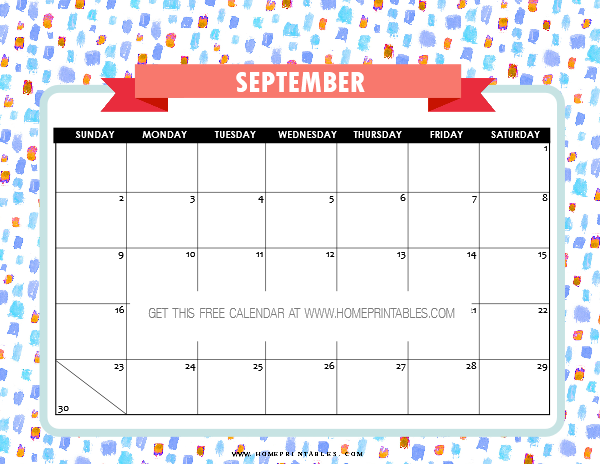 September 2018 calendar printables