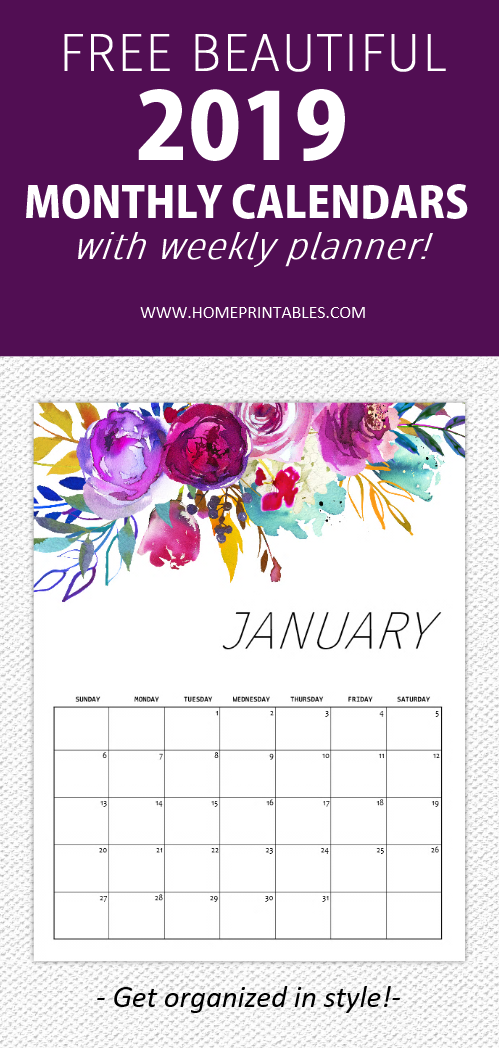 January 2019 monthly calendar