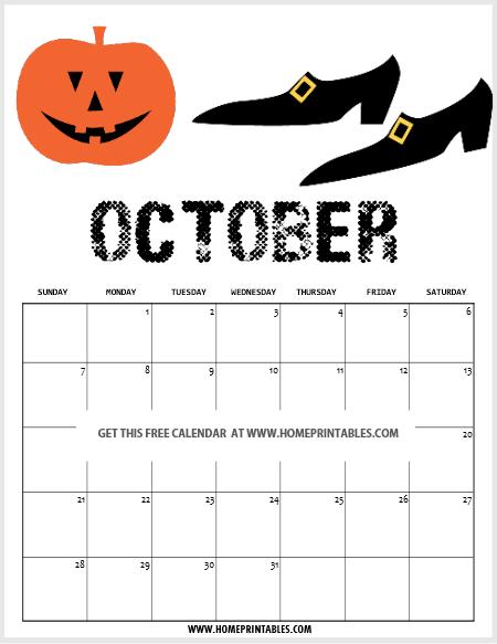 free printable Halloween 2018 calendar