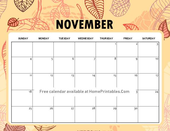 November calendar printable