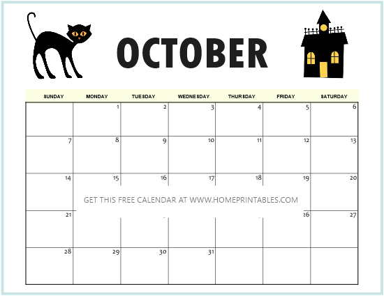 Halloween theme calendar printable