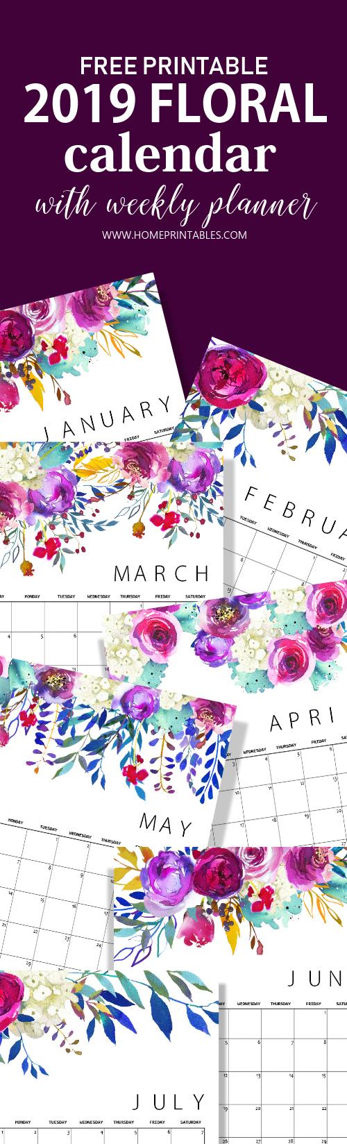 free calendar 2019 printable