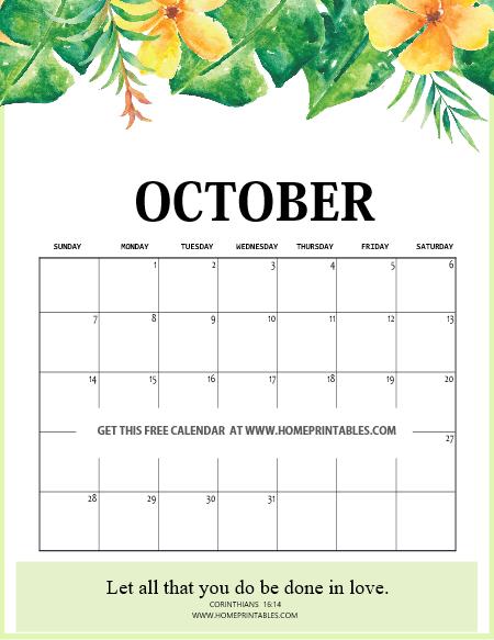 floral October 2018 calendar