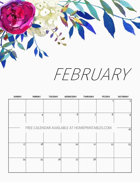 February calendar printable
